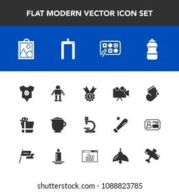 Modern, simple vector icon set with box, food, water, projection, aircraft, microscope, breakfast, socks, projector, drink, plane, picture, child, technology, equipment, baby, xray, airplane icons