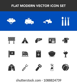 Modern, simple vector icon set with download, chat, menu, traditional, vehicle, mobile, transport, adventure, train, sign, road, street, car, weapon, phone, communication, national, handgun, web icons