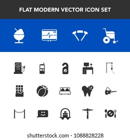 Modern, simple vector icon set with fuel, game, privacy, hotel, handicap, cell, mobile, telephone, jump, bedroom, furniture, football, office, phone, sport, bar, icecream, business, gasoline icons