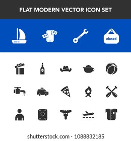 Modern, simple vector icon set with headwear, play, pizza, water, fashion, teapot, box, car, glass, football, wine, ship, childhood, banner, sign, tap, shop, hat, child, equipment, sink, alcohol icons