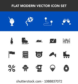 Modern, simple vector icon set with pig, destination, winter, ice, swine, wine, raw, alcohol, job, pork, flag, sign, map, drink, city, house, chat, communication, leisure, point, coffee, easter icons