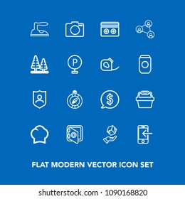 Modern, simple vector icon set on blue background with label, north, chief, cargo, protect, cook, banking, lens, circle, package, security, shipping, phone, photo, food, transfer, east, mobile icons