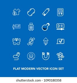 Modern, simple vector icon set on blue background with skate, face, board, road, location, home, extreme, navigation, door, young, room, birdhouse, wing, skater, magnetic, pole, butterfly, field icons