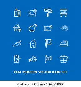 Modern, simple vector icon set on blue background with technology, decoration, mobile, flag, ironing, present, housework, holiday, iron, chart, finance, brush, hand, nation, building, transfer icons