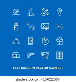 Modern, simple vector icon set on blue background with science, gift, mail, package, white, mobile, envelope, food, pistol, sea, hierarchy, weapon, company, gun, structure, giftbox, bank, post icons