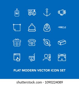 Modern, simple vector icon set on blue background with rudder, water, web, sea, office, wear, present, summer, fashion, dumper, home, button, business, white, holiday, material, dump, decoration icons