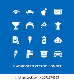 Modern, simple vector icon set on blue background with privacy, money, fashion, play, bathroom, file, cloud, business, mic, towel, headwear, vehicle, beauty, kitchen, sand, hair, child, add, hat icons