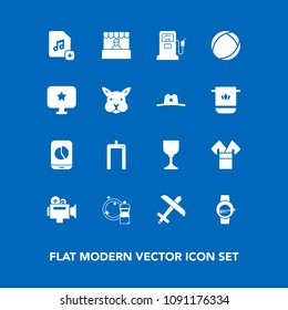 Modern, simple vector icon set on blue background with food, store, computer, broom, market, plane, machine, star, gas, add, airplane, alcohol, fuel, xray, video, flight, handle, grocery, asia icons