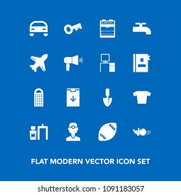 Modern, simple vector icon set on blue background with dental, work, american, airplane, bowling, flight, web, fashion, pin, sport, cheese, shovel, dentistry, travel, food, car, xray, oven, desk icons