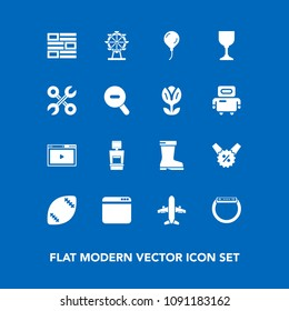 Modern, simple vector icon set on blue background with fashion, media, wine, percent, scan, travel, repair, game, web, online, style, sale, service, footwear, xray, airplane, newspaper, eye icons