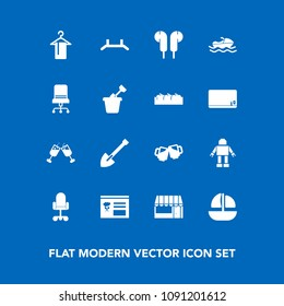 Modern, simple vector icon set on blue background with pull, shovel, chair, market, summer, machine, wine, red, menu, food, sand, furniture, sea, grocery, child, ocean, pub, audio, alcohol, beer icons