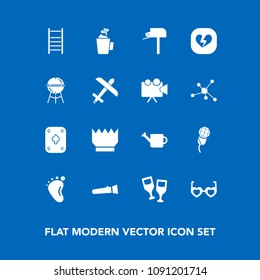 Modern, simple vector icon set on blue background with sound, equipment, audio, game, red, music, karaoke, post, hot, alcohol, hippie, gardening, style, foot, sunglasses, box, glasses, child icons