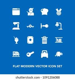 Modern, simple vector icon set on blue background with hat, box, dessert, restaurant, vehicle, sweet, samurai, web, ninja, transport, play, poker, food, winner, machine, waste, library, internet icons