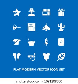Modern, simple vector icon set on blue background with chinese, store, food, sea, celebration, noodle, child, fashion, gift, star, launch, nature, grocery, clothes, game, mask, tree, music, kid icons