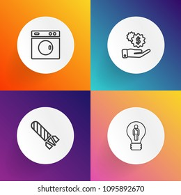 Modern, simple vector icon set on gradient backgrounds with cloud, flame, clean, abstract, machine, dollar, bulb, money, energy, creative, household, domestic, idea, investment, hand, danger icons