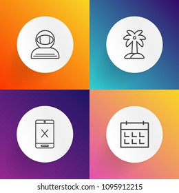 Modern, simple vector icon set on gradient backgrounds with network, astronomy, cosmos, astronaut, cable, spacesuit, time, tropical, stop, coaxial, natural, cut, science, cancel, office, tree icons