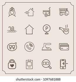Modern, simple vector icon set with ironing, call, concept, message, badge, banking, healthcare, circle, plastic, nurse, home, property, medical, mask, fashion, snorkel, object, internet, water icons
