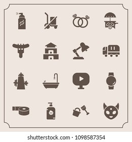 Modern, simple vector icon set with shovel, office, paint, fun, food, time, video, shipping, tape, smart, van, watch, fiction, bathroom, wedding, happy, adhesive, diamond, monster, ice, scale icons