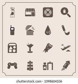 Modern, simple vector icon set with firework, market, clothes, glass, xray, equipment, bottle, store, spray, airplane, grocery, gym, game, woman, celebration, departure, plane, event, travel icons