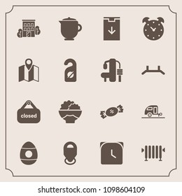 Modern, simple vector icon set with grain, vacation, trailer, teapot, business, water, web, heater, download, alarm, tea, food, time, drink, sweet, road, agriculture, breakfast, holiday, house icons