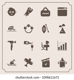 Modern, simple vector icon set with safety, bouquet, hammer, saw, sad, food, office, blossom, travel, plane, life, drink, work, buoy, aircraft, toy, sign, play, airplane, wine, store, business icons