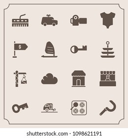 Modern, simple vector icon set with grocery, play, clothes, keyboard, clothing, store, camera, supermarket, harvest, agriculture, child, hammer, construction, baby, gas, technology, saw, travel icons