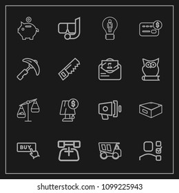 Modern, simple vector icon set on dark background with dumper, megaphone, bank, electricity, finance, idea, light, weight, sign, task, business, plan, investment, telephone, personal, sea, phone icons