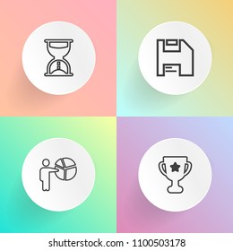 Modern, simple vector icon set on gradient backgrounds with manager, disk, clock, floppy, time, watch, diskette, minute, meeting, win, timer, sport, measure, competition, adult, people, computer icons