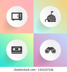 Modern, simple vector icon set on gradient backgrounds with record, igloo, ice, object, 80s, zoom, cassette, background, machine, mixer, watch, tape, travel, north, arctic, style, sound, vision icons