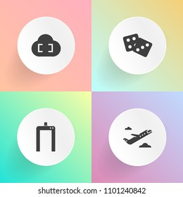 Modern, simple vector icon set on gradient backgrounds with medical, connection, internet, sign, travel, jet, luck, departure, equipment, trip, business, tourism, xray, gambling, machine, casino icons