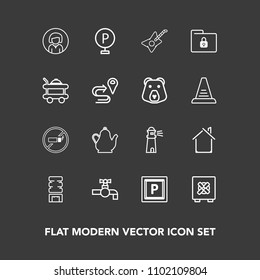 Modern, simple vector icon set on dark background with home, road, folder, sign, face, sink, tobacco, lady, street, light, drink, kitchen, lighthouse, no, tap, safe, car, safety, music, estate icons