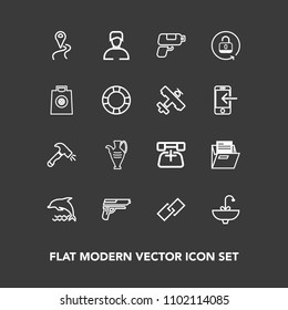 Modern, Simple Vector Icon Set On Dark Background With Weapon, Road, Man,