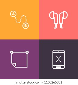 Modern, simple vector icon set on colorful background with office, earphone, headset, memo, device, cable, subscription, coaxial, message, sound, marker, sticky, location, gadget, object, wire icons