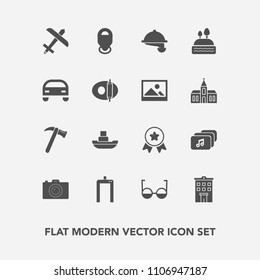Modern, simple vector icon set with scan, xray, map, house, airplane, ocean, file, photographer, music, wrench, spanner, waiter, estate, award, food, achievement, boat, winner, place, service icons