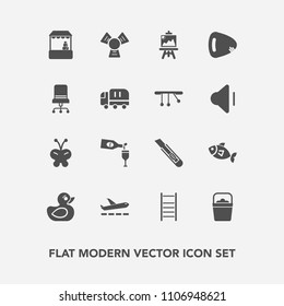 Modern, simple vector icon set with furniture, child, play, chair, handle, fish, airport, art, grocery, travel, cutter, water, musical, red, guitar, cooler, comfortable, shop, butterfly, glass icons