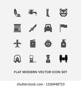 Modern, simple vector icon set with stationary, calligraphy, spaceship, cat, pen, service, hygiene, bathroom, fashion, black, telephone, phone, liquid, hotel, kitty, technology, communication icons
