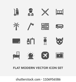 Modern, simple vector icon set with scan, bed, travel, robot, cabinet, school, interior, space, boy, ufo, xray, cyborg, blackboard, monster, male, cargo, japanese, sword, airplane, delivery, man icons