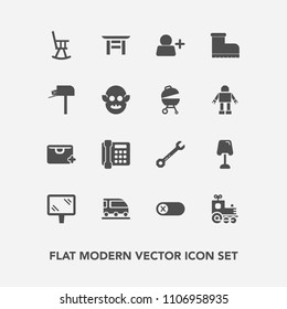 Modern, simple vector icon set with wrench, energy, spanner, off, turn, communication, mail, japanese, style, train, tool, van, sale, torii, furniture, deactivate, home, lamp, office, sign, bag icons