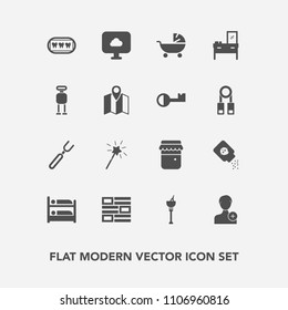 Modern, simple vector icon set with pram, news, ice, knife, fork, jam, stroller, wand, member, wine, drink, cloud, honey, kid, account, furniture, person, cabinet, hostel, child, white, home icons