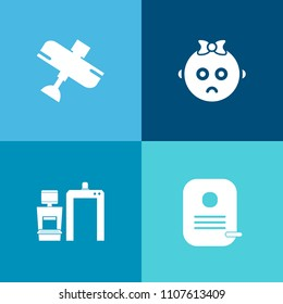 Modern, simple vector icon set on colorful background with identification, cry, childhood, portrait, equipment, little, scanner, child, kid, element, airport, baby, young, user, xray, medical icons