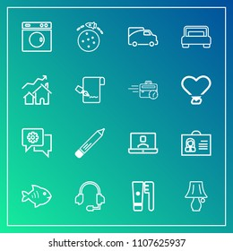 Modern, simple vector icon set on gradient background with mobile, washer, bulb, office, stationery, fish, video, food, chat, traffic, seafood, care, pencil, technology, call, female, rocket icons