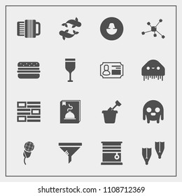 Modern, simple vector icon set with window, white, atom, flipper, seafood, child, newspaper, monster, menu, underwater, music, conditioner, space, accordion, karaoke, profile, human, sandbox icons