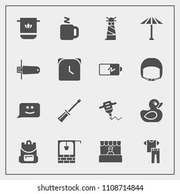 Modern, simple vector icon set with duck, store, construction, water, ocean, toy, beacon, drill, stone, child, fashion, light, screwdriver, food, clothing, well, chat, work, bathroom, collection icons