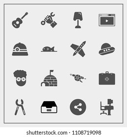 Modern, simple vector icon set with reparation, health, graphic, button, medical, industrial, snow, arctic, sign, military, style, retro, social, musical, emergency, hipster, table, industry icons