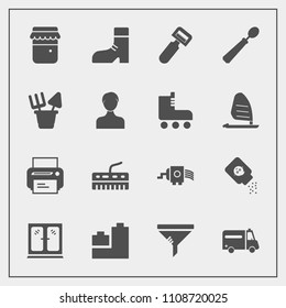 Modern, simple vector icon set with jar, boot, printer, fashion, home, cabinet, honey, medical, potato, clean, machine, bottle, technology, conditioner, grater, equipment, interior, air, cooking icons