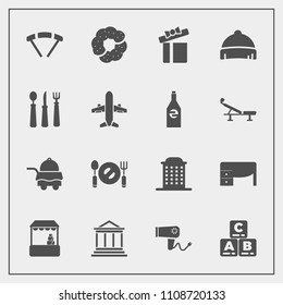 Modern, simple vector icon set with business, gift, office, blow, money, food, toy, table, hair, architecture, spoon, desk, parachuting, hairdryer, grocery, jump, play, house, room, present, sky icons