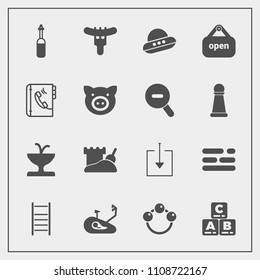 Modern, simple vector icon set with tool, layout, equipment, architecture, baby, dinner, bike, play, store, meat, table, spacecraft, phone, space, business, food, bicycle, rattle, download, toy icons