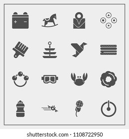 Modern, simple vector icon set with dessert, mask, full, water, sea, bottle, karaoke, rattle, map, power, audio, music, battery, computer, technology, travel, infant, baby, summer, child, fresh icons