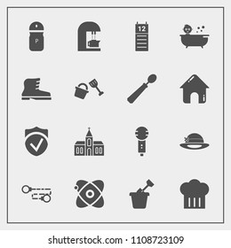 Modern, simple vector icon set with security, bath, seasoning, religious, microphone, building, caffeine, play, reminder, cafe, spice, voice, karaoke, universe, summer, chain, baby, calendar icons