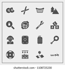 Modern, simple vector icon set with asian, cookie, shipping, money, market, baby, food, white, japan, delivery, snack, sweet, geisha, child, location, work, bar, map, pin, forest, basket, garden icons